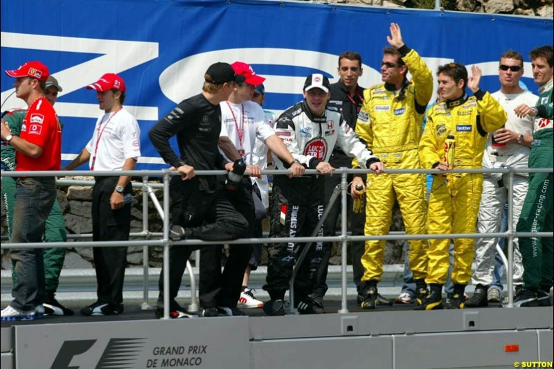 The drivers' parade for the Monaco Grand Prix. Sunday, June 1st 2003.