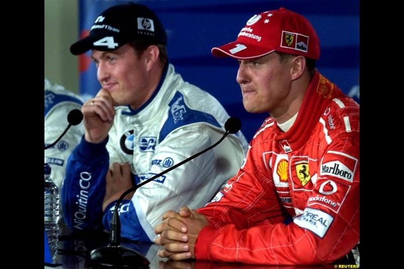 The post qualifying press conference. Ralf Schumacher, Williams; Michael Schumacher, Ferrari. Canadian Grand Prix, Montreal, Saturday, June 14th 2003.