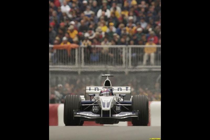 Juan Pablo Montoya, Williams. Canadian Grand Prix, Montreal, Saturday, June 14th 2003.