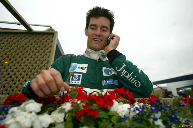 Mark Webber, Jaguar. Canadian Grand Prix, Montreal, Saturday, June 14th 2003.