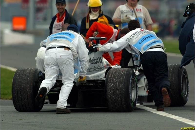 Kimi Raikkonen, McLaren, spun off during qualifying. Canadian Grand Prix, Montreal, Saturday, June 14th 2003.