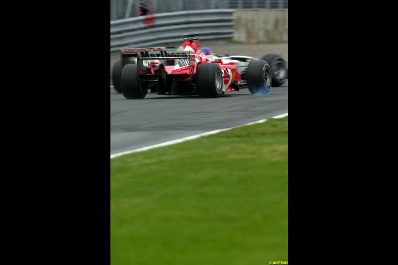 Rubens Barrichello, Ferrari, locks up. Canadian Grand Prix, Montreal, Saturday, June 14th 2003.