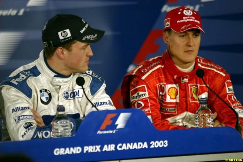 The post qualifying press conference. 1st, Ralf Schumacher, Williams; 3rd, Michael Schumacher, Ferrari. Canadian Grand Prix, Montreal, Saturday, June 14th 2003.