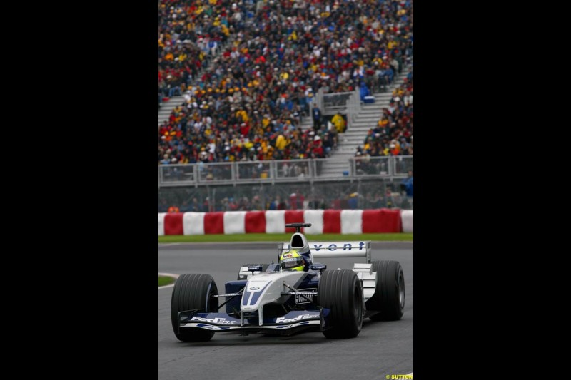 Ralf Schumacher, Williams, on his way to pole position. Canadian Grand Prix, Montreal, Saturday, June 14th 2003.