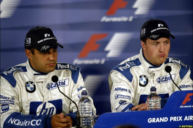 The post qualifying press conference. 1st, Ralf Schumacher, Williams; 2nd, Juan Pablo Montoya, Williams. Canadian Grand Prix, Montreal, Saturday, June 14th 2003.