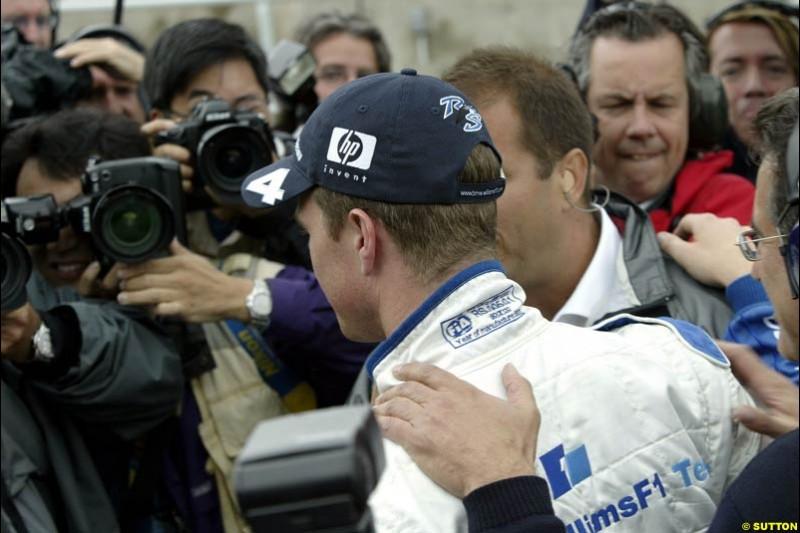 Ralf Schumacher, Williams, celebrates pole position. Canadian Grand Prix, Montreal, Saturday, June 14th 2003.