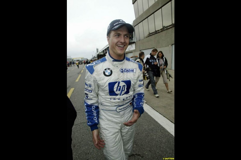 Ralf Schumacher, Williams, after scoring pole position. Canadian Grand Prix, Montreal, Saturday, June 14th 2003.