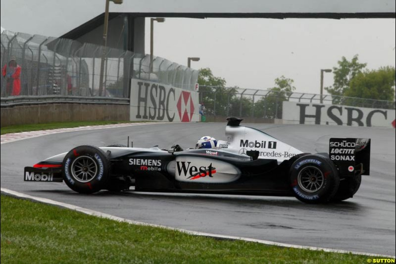 David Coulthard, McLaren, spins during Saturday Free Practice. Canadian Grand Prix, Montreal, Saturday, June 14th 2003.