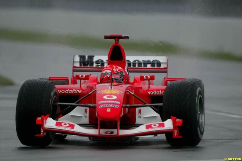 Michael Schumacher, Ferrari, during Saturday Free Practice. Canadian Grand Prix, Montreal, Saturday, June 14th 2003.