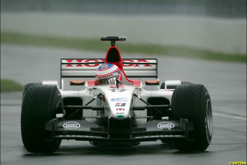 Jenson Button, BAR, during Saturday Free Practice. Canadian Grand Prix, Montreal, Saturday, June 14th 2003.