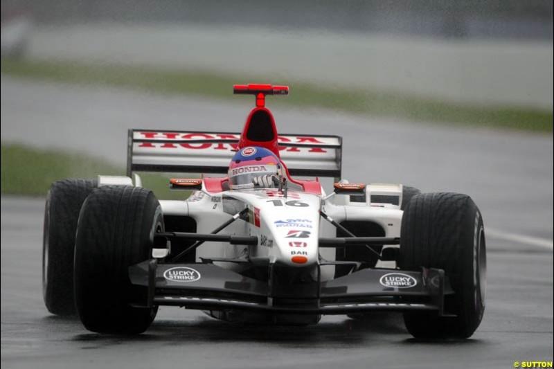 Jacques Villeneuve, BAR, during Saturday Free Practice. Canadian Grand Prix, Montreal, Saturday, June 14th 2003.