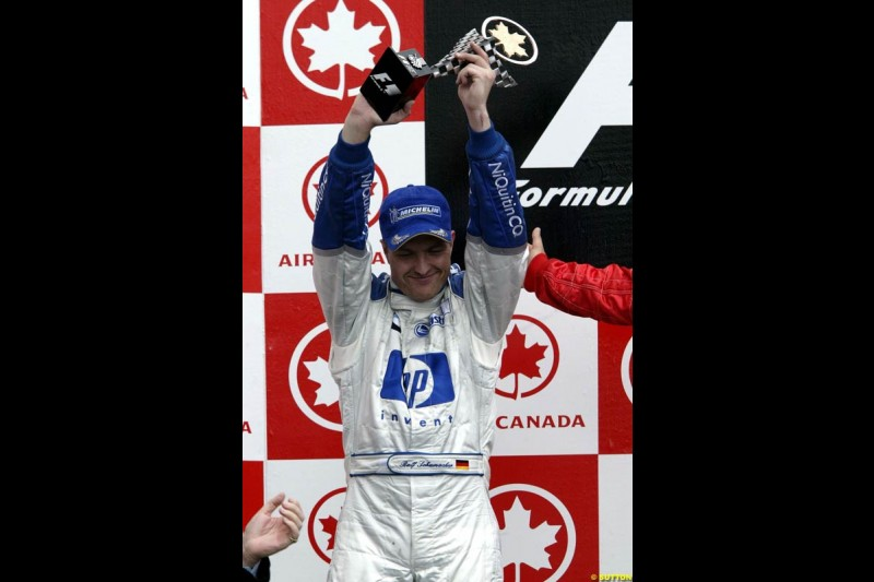 Ralf Schumacher, Williams, celebrates second place. Canadian Grand Prix, Montreal, Sunday, June 15th 2003.