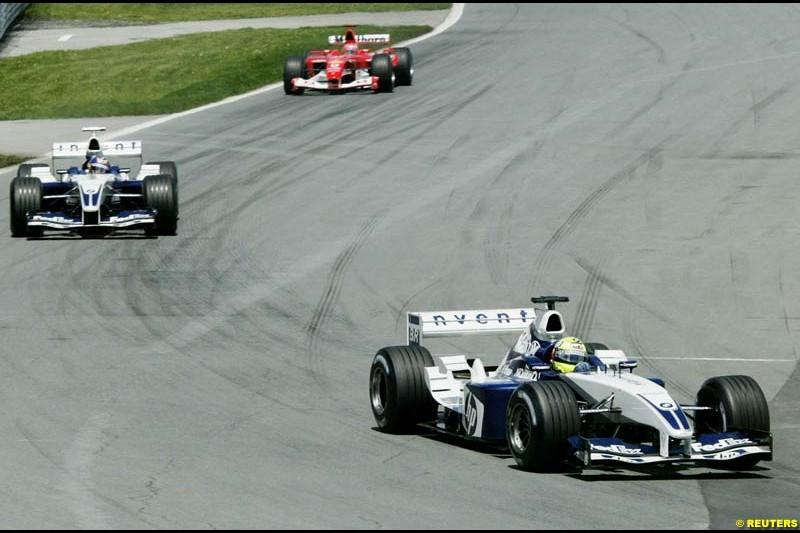 Ralf Schumacher, Williams, leads team mate Juan Pablo Montoya, Williams. Canadian Grand Prix, Montreal, Sunday, June 15th 2003.