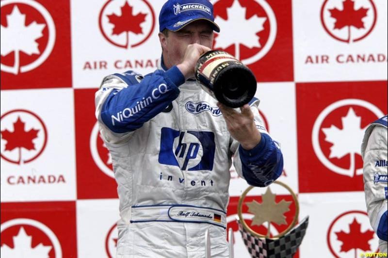 The Podium. Ralf Schumacher, Williams, celebrates second place. Canadian Grand Prix, Montreal, Sunday, June 15th 2003.