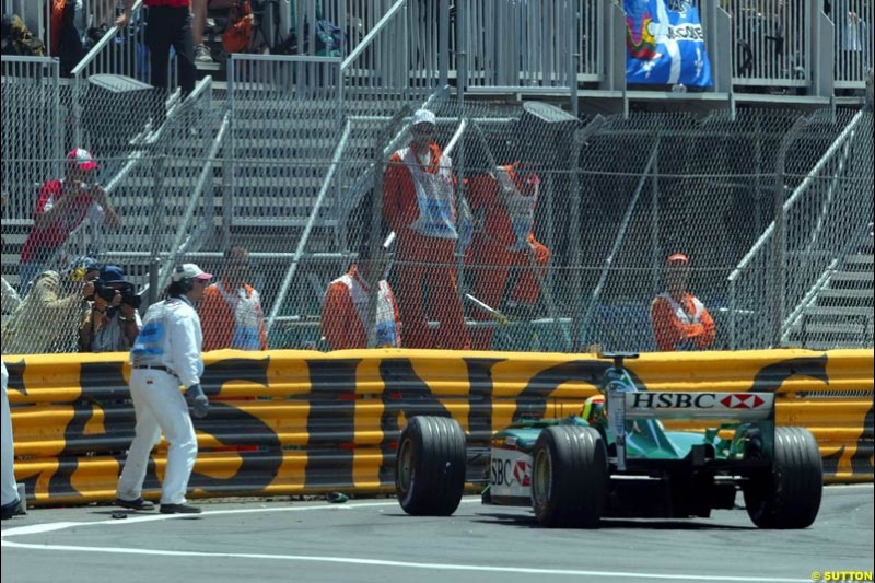 Antonio Pizzonia, Jaguar, after hitting the wall. Canadian Grand Prix, Montreal, Sunday, June 15th 2003.