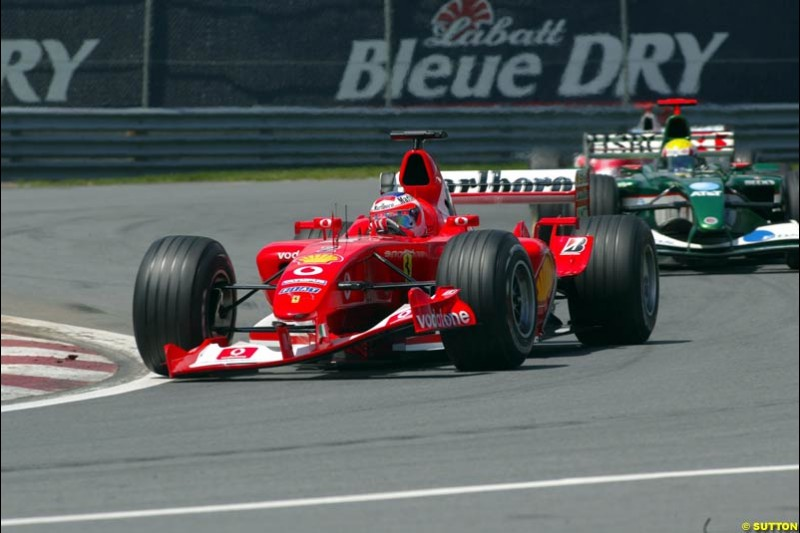 Rubens Barrichello, Ferrari, with a damaged front wing. Canadian Grand Prix, Montreal, Sunday, June 15th 2003.