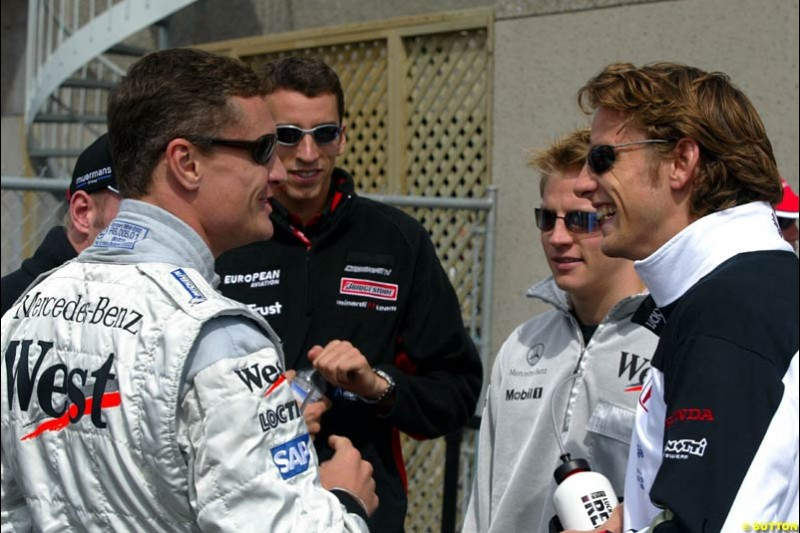 Drivers chat before the Drivers Parade. Canadian Grand Prix, Montreal, Sunday, June 15th 2003.