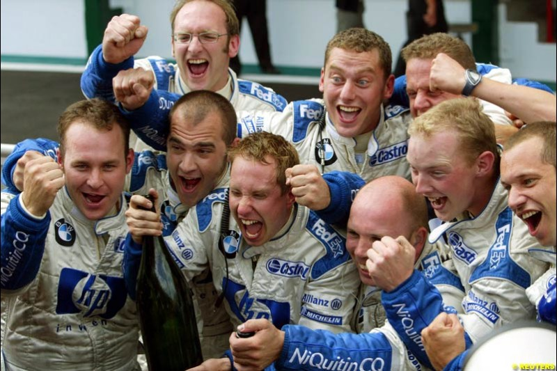 The Williams Team celebrate. French Grand Prix at Magny Cours. Circuit de Nevers, France. Sunday, July 6th 2003.