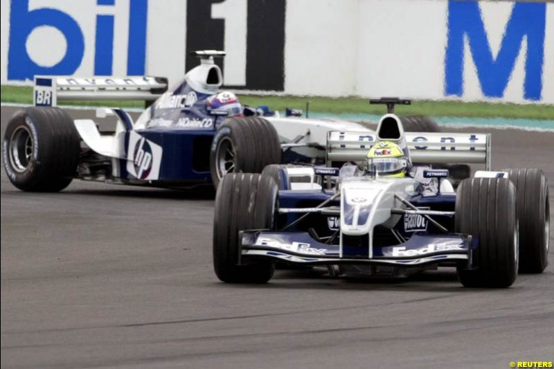 Ralf Schumacher, Williams, leads Juan Pablo Montoya, Williams. French Grand Prix at Magny Cours. Circuit de Nevers, France. Sunday, July 6th 2003.