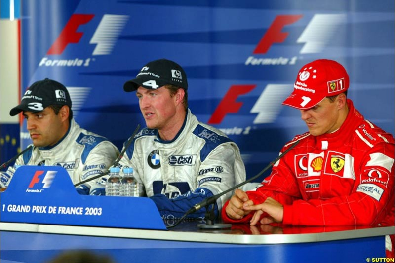 The Post Race Press Conference. French Grand Prix at Magny Cours. Circuit de Nevers, France. Sunday, July 6th 2003.