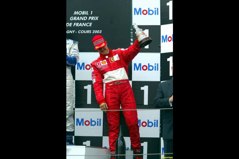 The Podium. French Grand Prix at Magny Cours. Circuit de Nevers, France. Sunday, July 6th 2003.
