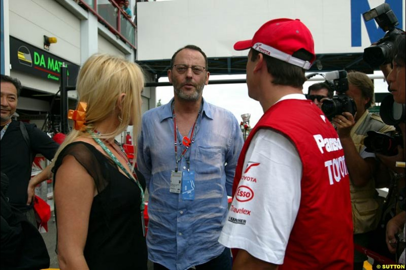 Olivier Panis with French god Jean Reno. French Grand Prix at Magny Cours, France. Sunday, July 6th 2003.