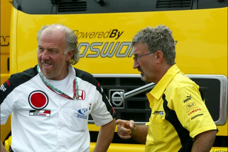 David Richards and Eddie Jordan. French Grand Prix at Magny Cours, France. Sunday, July 6th 2003.
