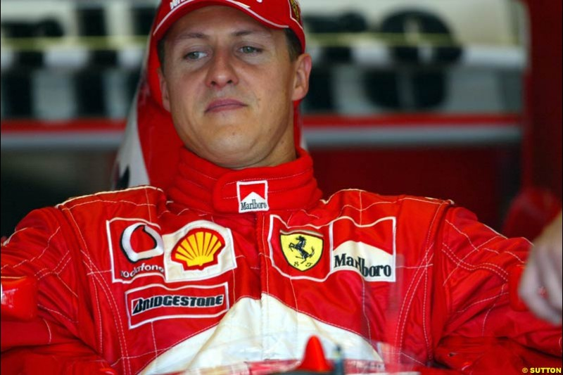 Michael Schumacher, Ferrari. German Grand Prix at Hockenheim. Friday, August 1st 2003.