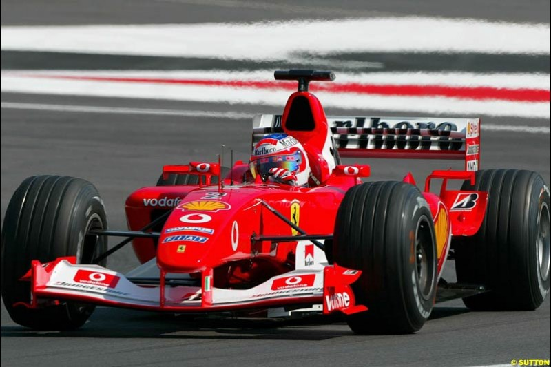 Rubens Barrichello, Ferrari. German Grand Prix at Hockenheim. Friday, August 1st 2003.