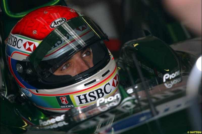 Justin Wilson, Jaguar. German Grand Prix at Hockenheim. Friday, August 1st 2003.