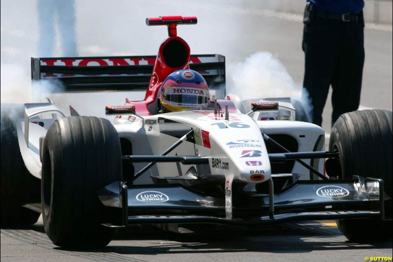 Jacques Villeneuve, BAR. German Grand Prix at Hockenheim. Friday, August 1st 2003.