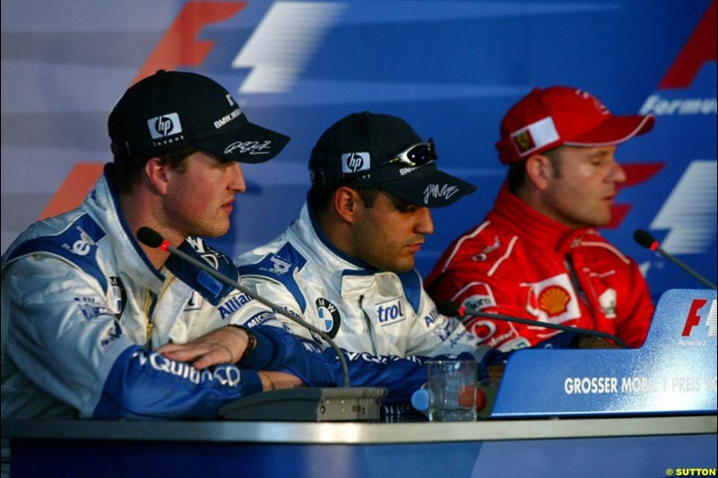 The Post Qualifying Press Conference. German Grand Prix, Hockenheim, Germany. Saturday, August 2nd 2003.
