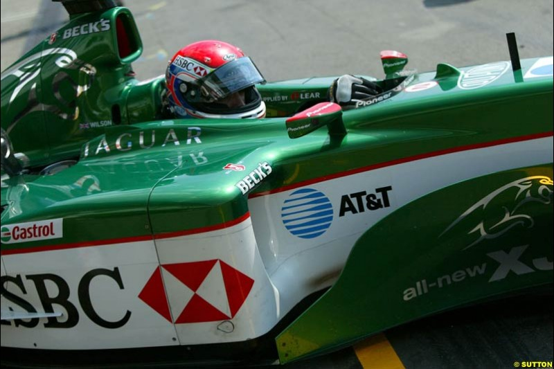 Justin Wilson, Jaguar. German Grand Prix, Hockenheim, Germany. Saturday, August 2nd 2003.
