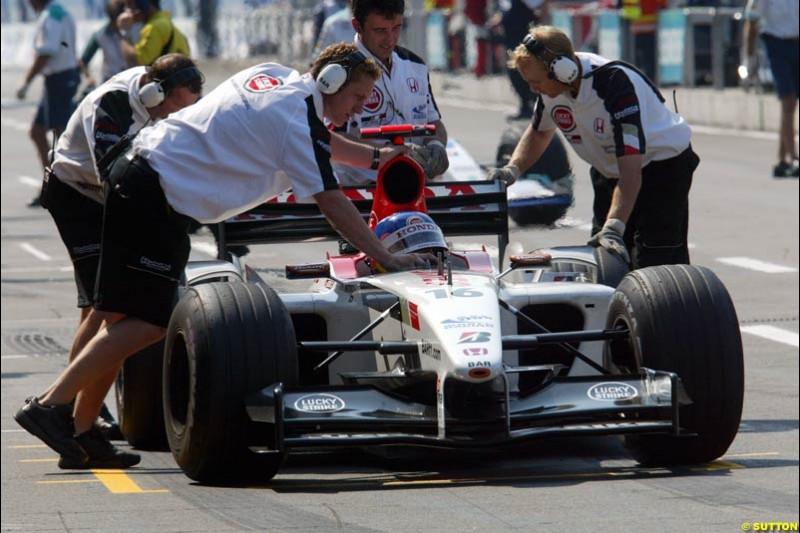Jacques Villeneuve, BAR. German Grand Prix, Hockenheim, Germany. Saturday, August 2nd 2003.