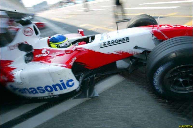 Cristiano Da Matta, Toyota. German Grand Prix, Hockenheim, Germany. Saturday, August 2nd 2003.