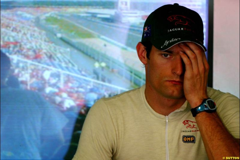 Mark Webber, Jaguar. German Grand Prix, Hockenheim, Germany. Saturday, August 2nd 2003.