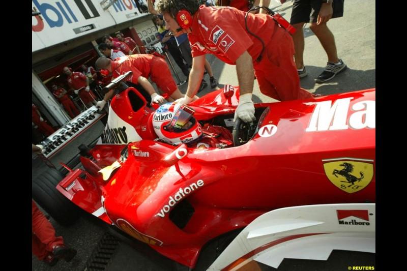 Rubens Barrichello, Ferrari. German Grand Prix, Hockenheim, Germany. Saturday, August 2nd 2003.