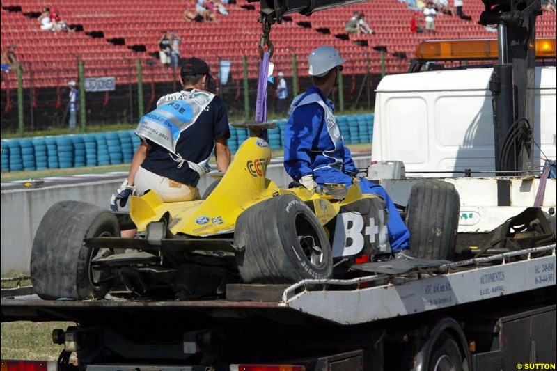 The car of Ralph Firman Jnr, Jordan, after crashing out of Free Practice. Hungarian Grand Prix Saturday. Hungaroring, Budapest. 23rd August, 2003.