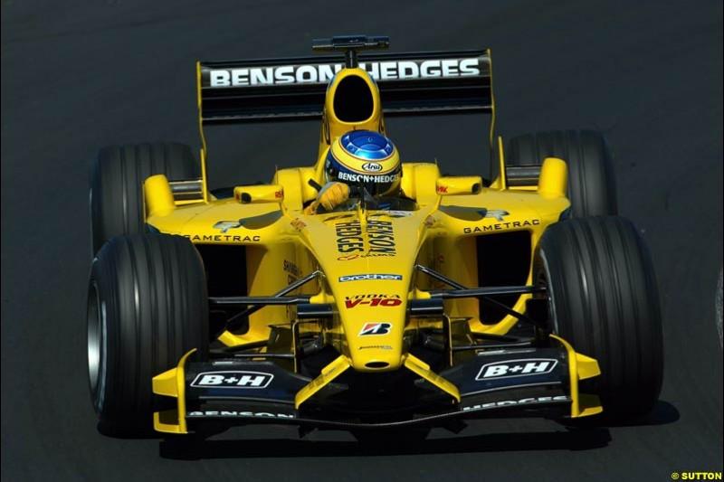 Jordan. Hungarian Grand Prix Saturday. Hungaroring, Budapest. 23rd August, 2003.