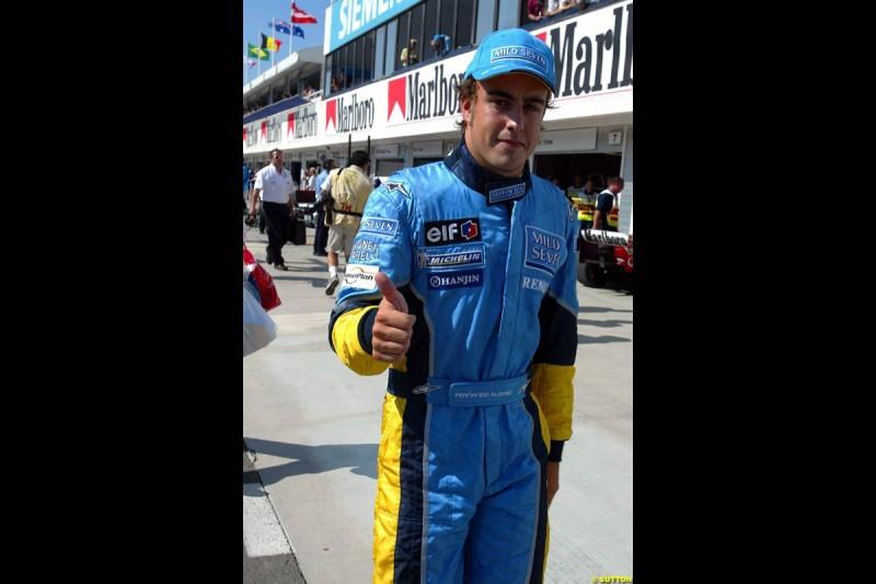 Fernando Alonso, Renault. Hungarian Grand Prix Saturday. Hungaroring, Budapest. 23rd August, 2003.