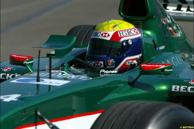 Mark Webber, Jaguar. Hungarian Grand Prix Saturday. Hungaroring, Budapest. 23rd August, 2003.