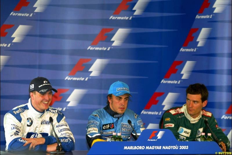 The post qualifying Press Conference. Hungarian Grand Prix Saturday. Hungaroring, Budapest. 23rd August, 2003.