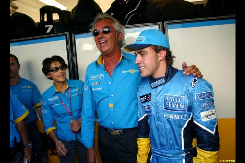 Fernando Alonso, Renault, celebrates pole. Hungarian Grand Prix Saturday. Hungaroring, Budapest. 23rd August, 2003.