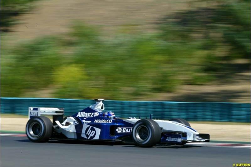 Juan Pablo Montoya, Williams. Hungarian Grand Prix Saturday. Hungaroring, Budapest. 23rd August, 2003.