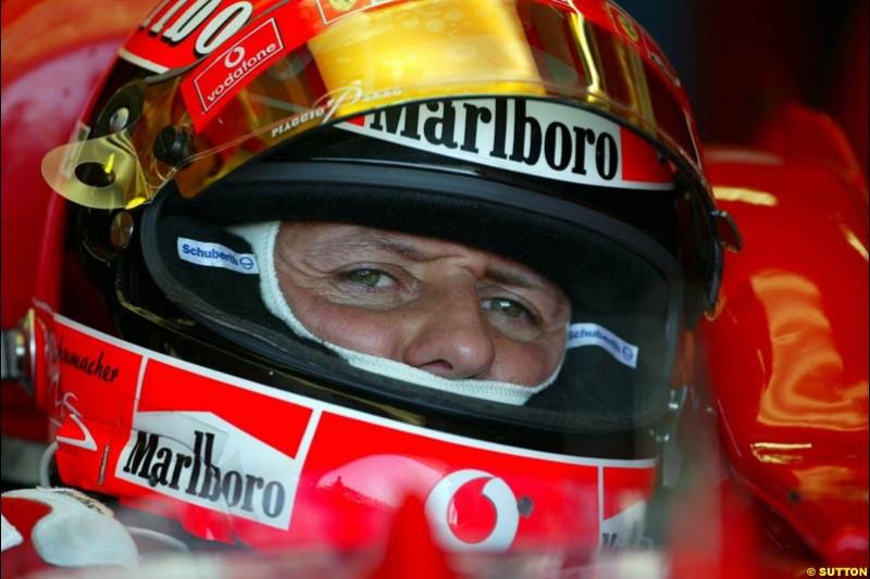 Michael Schumacher, Ferrari. Hungarian Grand Prix Saturday. Hungaroring, Budapest. 23rd August, 2003.