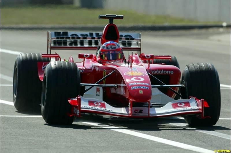 Rubens Barrichello, Ferrari. Hungarian Grand Prix Saturday. Hungaroring, Budapest. 23rd August, 2003.