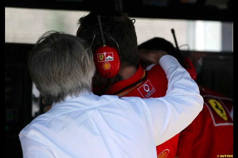 F1 Supremo Bernie Ecclestone chats to Ferrari General Manager Jean Todt. Hungarian Grand Prix Saturday. Hungaroring, Budapest. 23rd August, 2003.