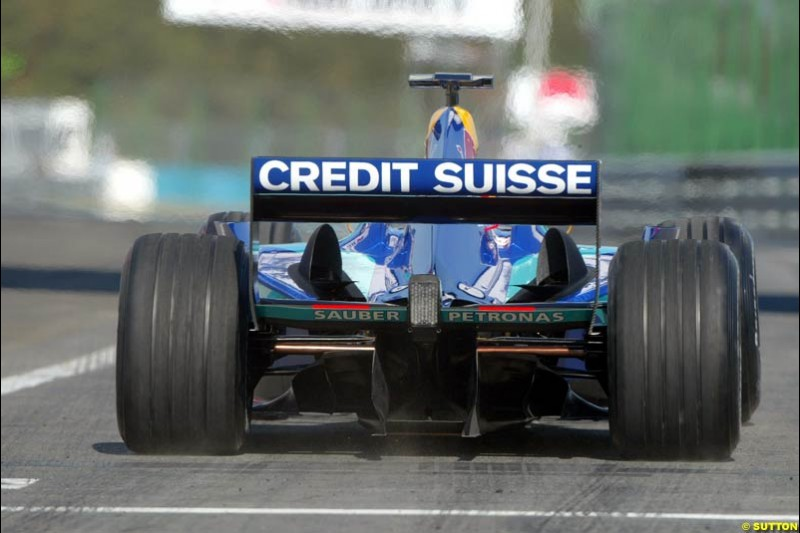 Sauber. Hungarian Grand Prix Saturday. Hungaroring, Budapest. 23rd August, 2003.