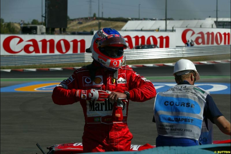 Rubens Barrichello, Ferrari. Hungarian Grand Prix Sunday. Hungaroring, Budapest. 24th August, 2003.