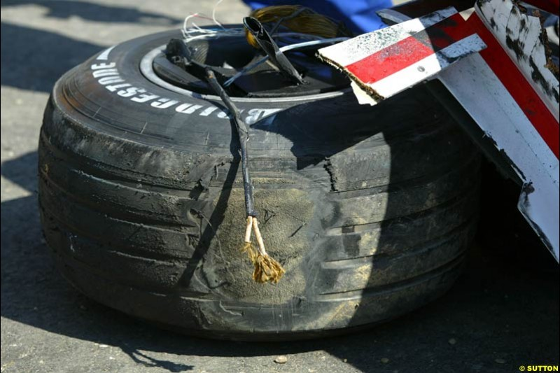 A tyre of Rubens Barrichello, Ferrari. Hungarian Grand Prix Sunday. Hungaroring, Budapest. 24th August, 2003.